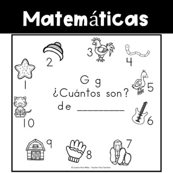 Spanish:  Letter G Counting Book 1-10 / Cuenta con la letra G