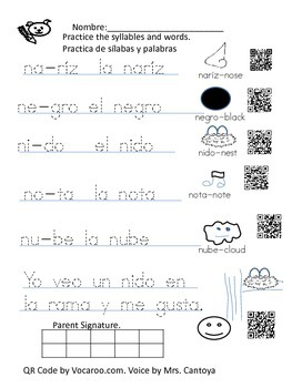 Spanish Letter N syllable practice homework with Qr Code by Pequitascv