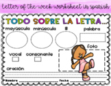 "Letter of the week in Spanish ""Todo Sobre La Letra"""