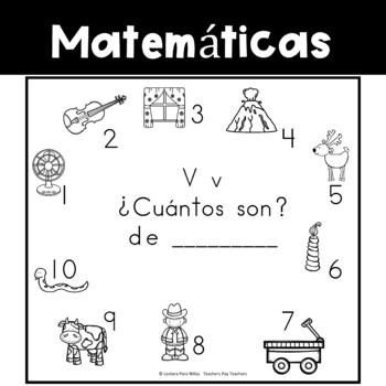 Spanish:  Letter V Counting Book 1-10 / Cuenta con la letra V