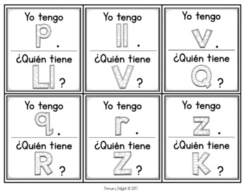 Spanish Letters: Yo tengo... ¿Quién tienen...?