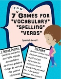 Spanish Level 1 Games for vocabulary, spelling, verbs