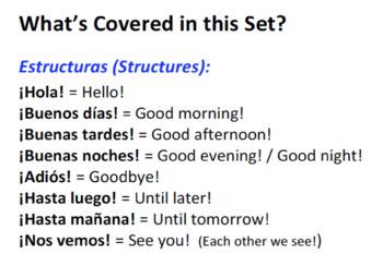 Spanish 1 Hola! Set of 4 Dialogues - Introductions (Realidades Para Empezar)