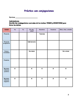 Spanish Level Beginner/Intermediate Conjugation Practice Table