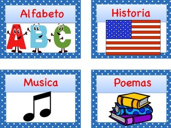 Spanish Library Labels and Matching Book Tags