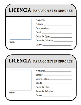 "Spanish Licencia Para Cometer Errores - ""License to Make Mistakes"""