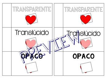 Spanish Light Vocab: transparente, translucido, opaco FOLDABLE