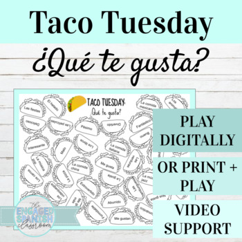 Spanish Likes and Dislikes Taco Tuesday Game Board