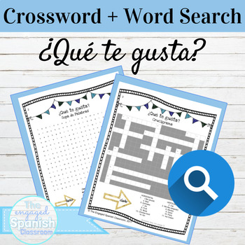 Spanish Likes and Dislikes with Gustar Crossword and Word Search