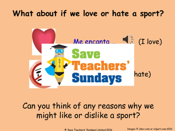 Spanish Likes & dislikes (sports) Lesson plan, PowerPoint (with audio) & More ..