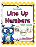 Spanish Line Up Numbers with Owls for Classroom Floor
