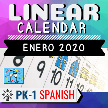 January 2020 Calendar In Spanish SPANISH Linear Calendar January 2020 Morning Meeting Circle Time