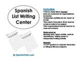 Spanish List Writing Center (Centro de escritura de escribir listas)