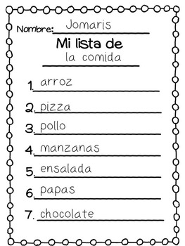 Spanish List Writing Center (Categories)