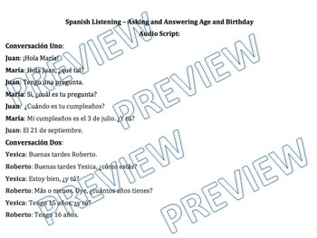 Spanish Listening - Asking and Answering Age and Birthday