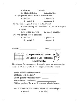 Spanish Listening Comprehension: Classes, Schedule and Interests