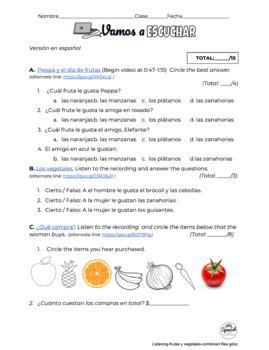 Spanish Listening Comprehension: Fruits and Vegetables (Frutas y vegetales)