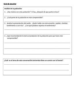 Spanish Listening Guide & Multiple Choice Quizzes - VHL Part C, #15 & #16