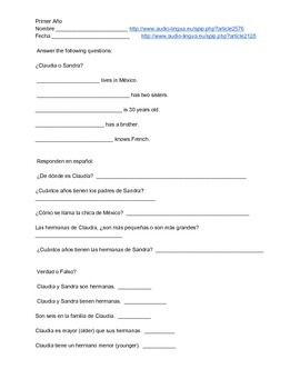 Spanish Listening Proficiency - Me presento (worksheet and audio link)