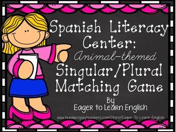 Spanish Literacy Center: Animal-Themed Singular/Plural Cards