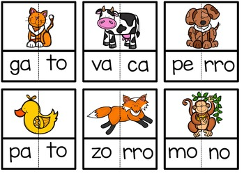Spanish Literacy Center:Syllable Puzzles #1 {2 syllable words, open syllables}