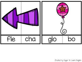 Spanish Literacy Center:Syllable Puzzles #4 {Sílabas trabadas/Blends}