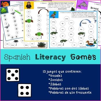 Spanish Literacy Games - Juegos en español (Sonidos, sílab