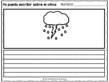 Spanish Literacy and Science – Weather – Yo puedo escribir sobre el clima