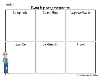 Spanish Literary Devices Notes & Activity - Recursos Literarios