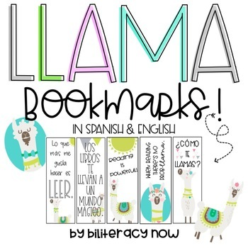 English & Spanish Llama Bookmarks! Seven different designs!