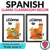 Spanish Greetings Posters - Spanish Classroom Decor - Llama Theme