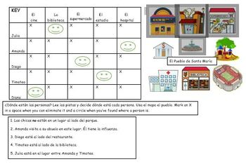 Spanish Logic Puzzle City Places and Prepositions