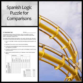 Spanish Logic Puzzle to Practice Comparisons