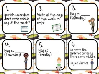 Los Días de la Semana Task Cards FREEBIE | Free Spanish Days of the Week