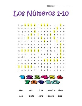 Spanish Numbers Numeros 1-10 Word Search Puzzle