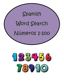 Spanish Numbers Numeros 1-100 Word Search Puzzle