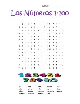 spanish numbers numeros 1 100 word search puzzle by profesora souza. Black Bedroom Furniture Sets. Home Design Ideas