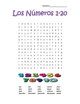 Spanish Numbers Numeros 1-20 Word Search Puzzle