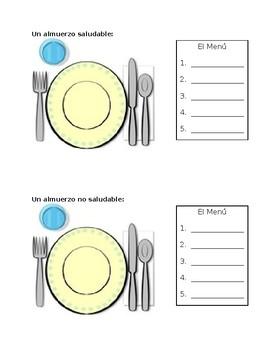 Spanish Lunch Food Worksheet / Almuerzos Diferentes
