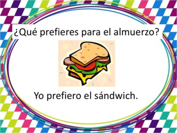Spanish Lunch Foods Powerpoint with Preferir - all forms