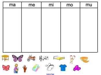 Spanish M Syllable sort- ma, me, mi, mo, mu