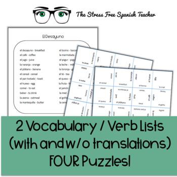 Spanish Vocabulary Puzzle Breakfast foods / El Desayuno la comida