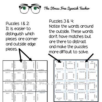 Spanish Vocabulary Puzzle Conditional Verb Tense: Regular & Irregular 2 puzzles!