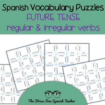 Spanish Vocabulary Puzzle FUTURE Verb Tense: Regular and Irregular 2 puzzles!