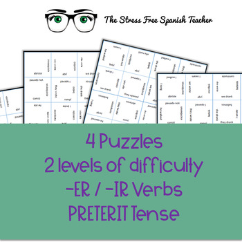 Spanish Vocabulary Puzzle Regular -ER / -IR Verbs in the Preterit Tense