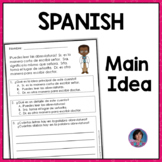 Spanish Main Idea Reading Comprehension Passages with Text Evidence Questions