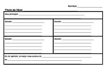 Spanish Main Idea & Details Graphic Organizer (La idea principal y detalles)
