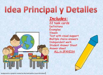 Spanish Main Idea/details- Idea Principal/Detalles Task Cards