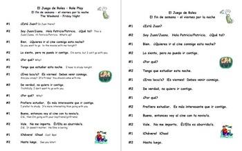 Spanish Skit / Role Play - Making Plans Friday Night - Viernes Por la Noche