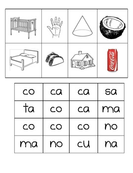 Spanish Making Words II-Picuteres and Silaba Cards